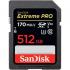 EXTREME PRO SDXC SDXXY 512GB V30 U3 C10 UHS-I 170MB/S R 90MB/S W 4X6 LIFETIME LIMITED