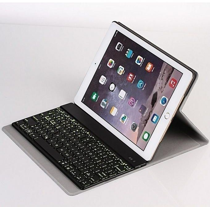Keyboard Case for iPad 9.7 2018/2017 / iPad Air 2 / iPad Air Built-in Wireless Slim Bluetooth Backlight Keyboard Shell Magnetic PU Protective Cover with 7 Color Backlight for Men Women - Backlit